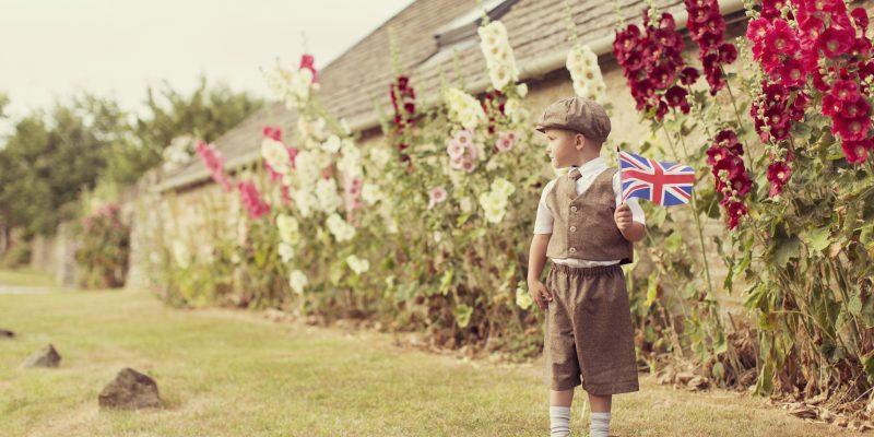 Boy waving the flag
